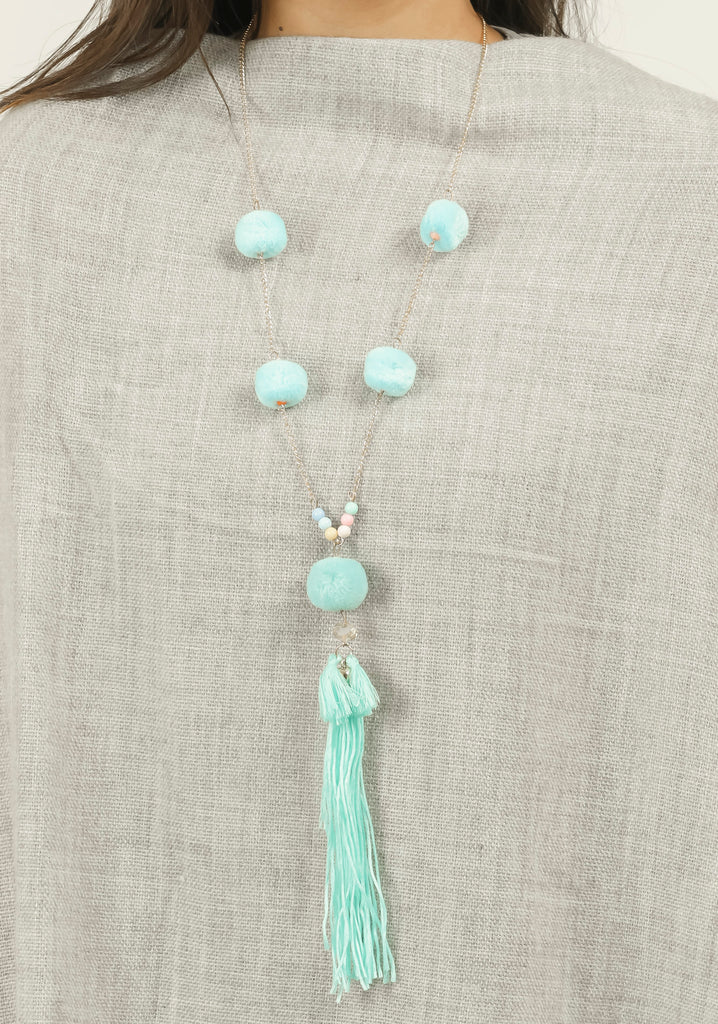 Blue Pom Pom Long Tassel Neck Piece #AL718 - Brinda's Store