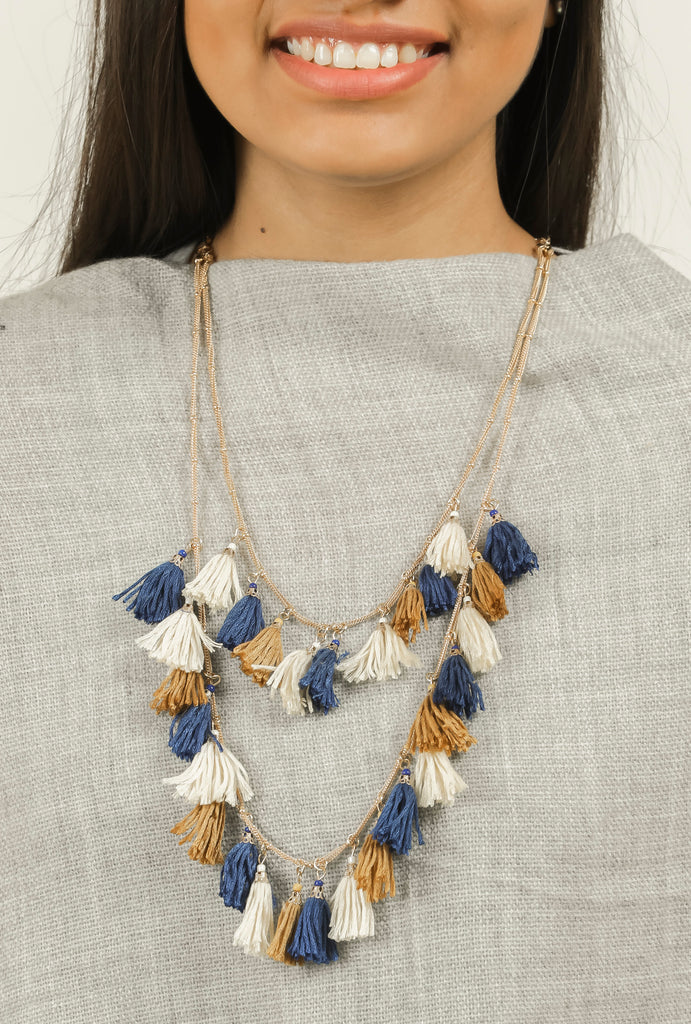 Blue Two Layered Tassel Long Chain Neck Piece #AL708 - Brinda's Store