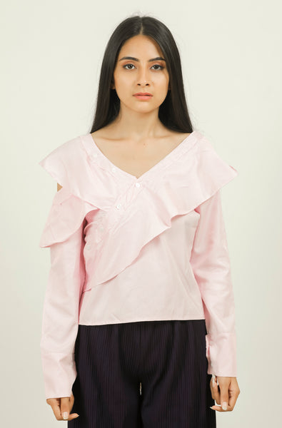 Pink Striped Asymmetric Button Down Frill Top