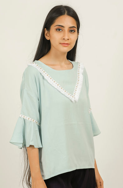 Blue V Shape Frayed Top - Brinda's Store
