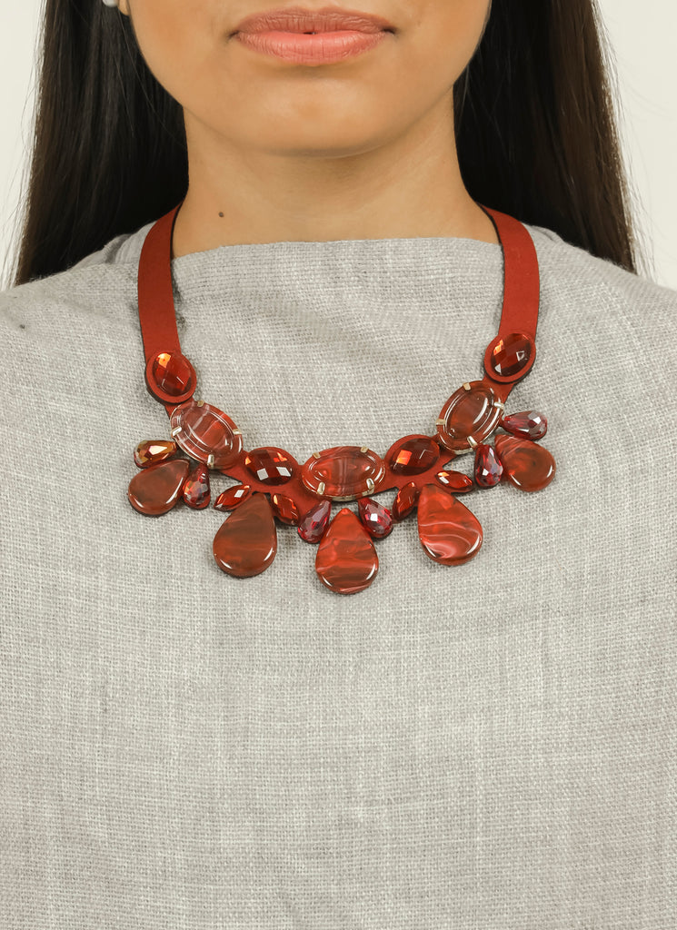 Maroon Beaded Stone Leather Belt Neck Piece #AL739