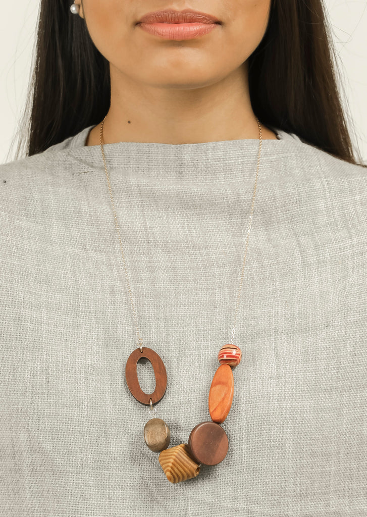 Wooden Coloured Multi Shape Long Neck Piece #AL742