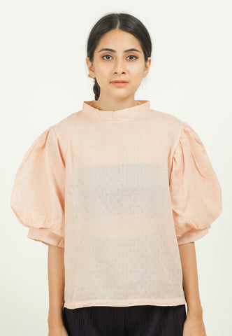 Orange Self Design Volume Sleeve Top