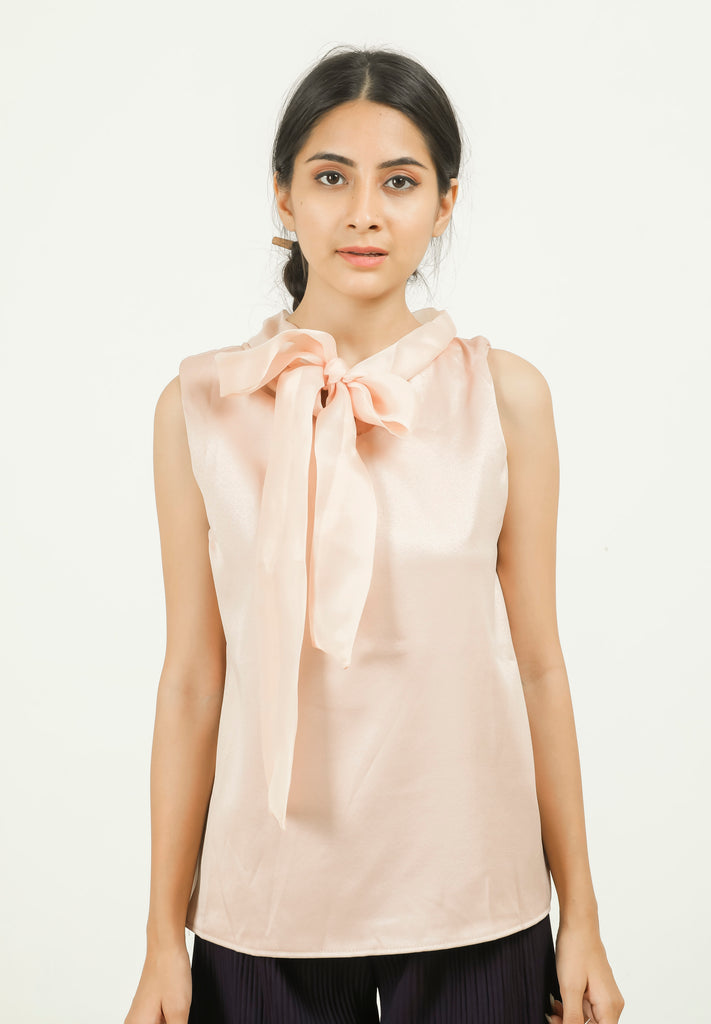 Cream Neck Tie-up Sleeveless Top - Brinda's Store