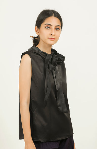 Black Neck Tie-up Sleeveless Top - Brinda's Store