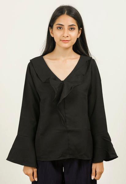 Black Ruffle Neck Top - Brinda's Store