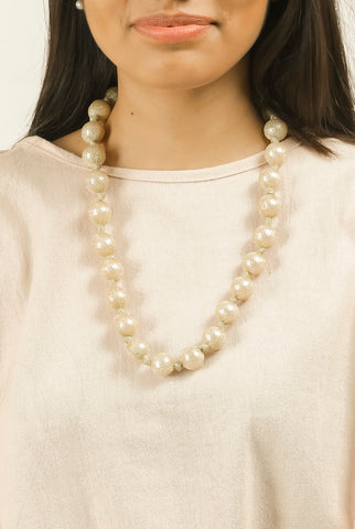 Pearl Golden Lace Long Neck Piece #AL747 - Brinda's Store