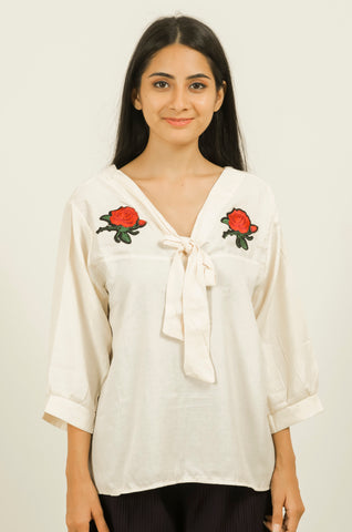 Cream Coloured Rose Embroidery Top #IBL221 - Brinda's Store