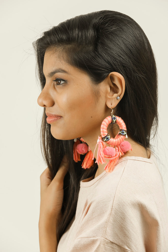 Pink Coloured Circle Bohemian Long Earrings #AL770 - Brinda's Store