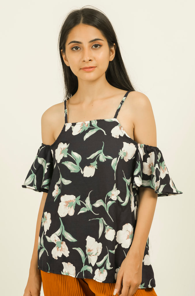 Blue Floral Open Shoulder Top - Brinda's Store