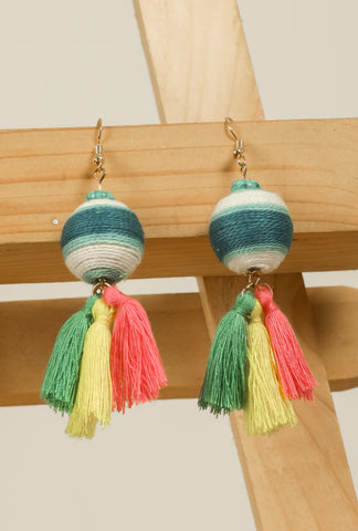 Blue-White Shaded Threaded Tassel Earrings #AL761 - Brinda's Store