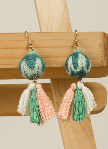 Blue Shaded Threaded Tassel Earrings #AL759 - Brinda's Store