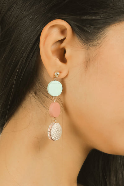 Blue  & Pink Wooden Drop Earrings #AL788 - Brinda's Store