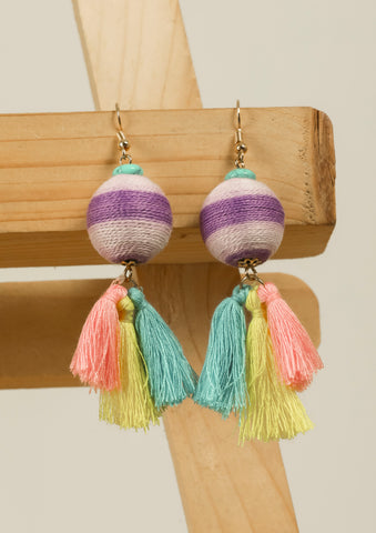 Purple Shaded Threaded Tassel Earrings #AL762