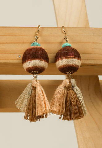 Brown Threaded Tassel Earrings #AL758 - Brinda's Store