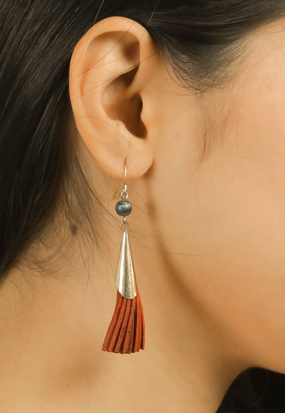 Golden & Brown Tassel Dangling Earrings #AL776 - Brinda's Store