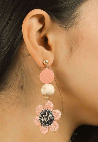 Pink Wooden Thread Earrings #AL779