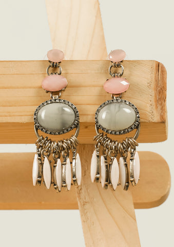 Pink Golden Embellished Earrings #AL639