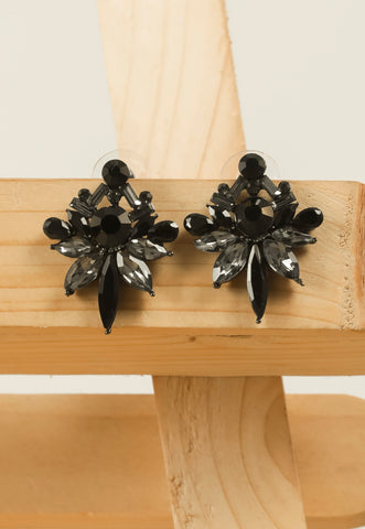 Black Embellished Stud Earrings #AL775 - Brinda's Store