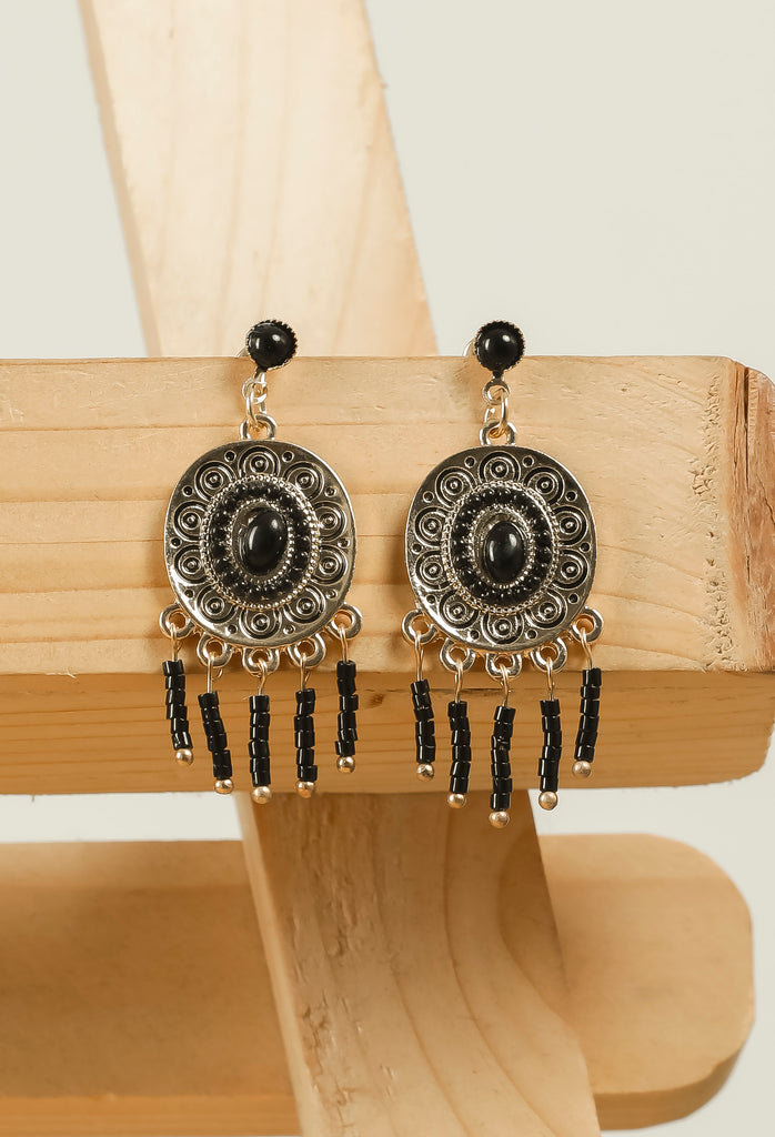 Black Beaded Earrings  #AL778 - Brinda's Store