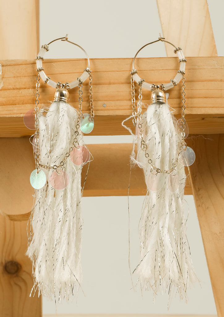 White Long Thread Dangling Earrings #AL777