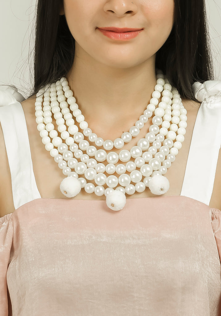 White Pearl Layered Neck Piece with Pom Pom #AL721