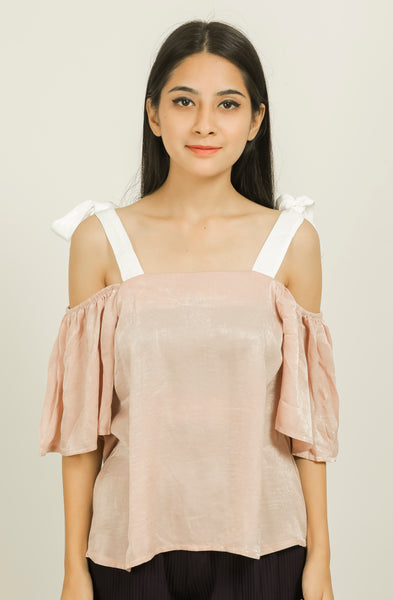 Rust Pink Contrast Shoulder Strap Top