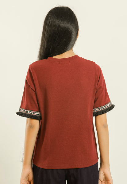 Maroon Frayed Lace Elbow Sleeve Top