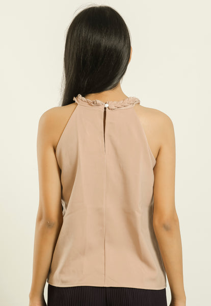 Brown Braid Neck Sleeveless Top - Brinda's Store