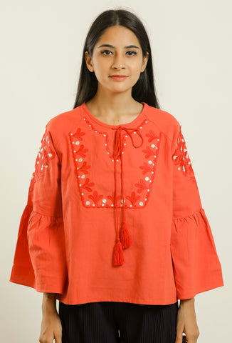Red Embroiderd Bohemian Tie-up Top