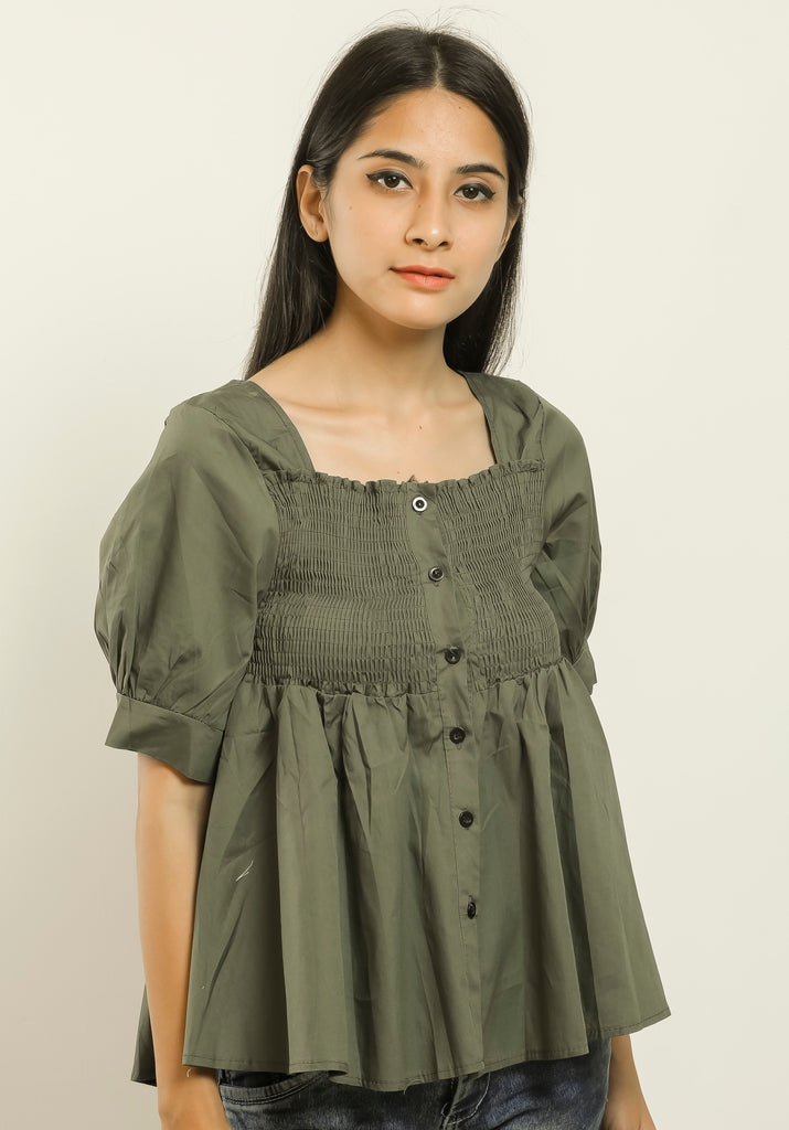 Navy Green Stretchable Blouse