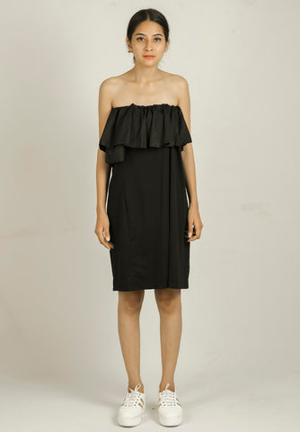 Black Off Shoulder Solid A-line Dress #IBL266 - Brinda's Store