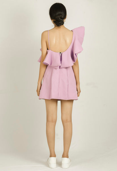 Purple Self design One Shoulder Bodycon Dress