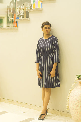 Women Blue & White Striped Formal Dress - Brinda's Store