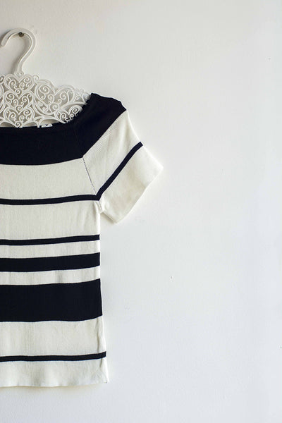 White & Black Striped Top - Brinda's Store