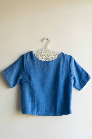 Women Sky Blue Knitted Crop Top - Brinda's Store