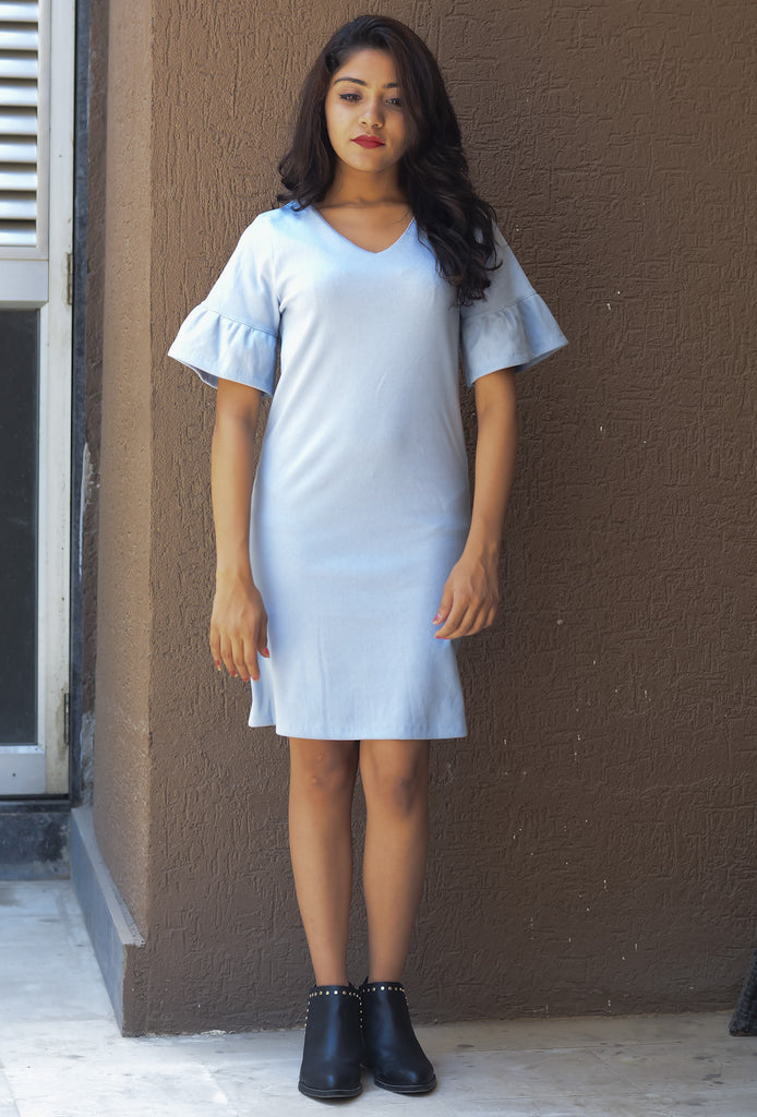 Light Blue Solid Sheath Dress with Ruffled Sleeves #IBL1234 - Brinda's Store