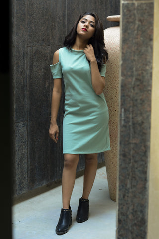 Mint Green Cold Shoulder Bodycon Dress #IBL1221 - Brinda's Store