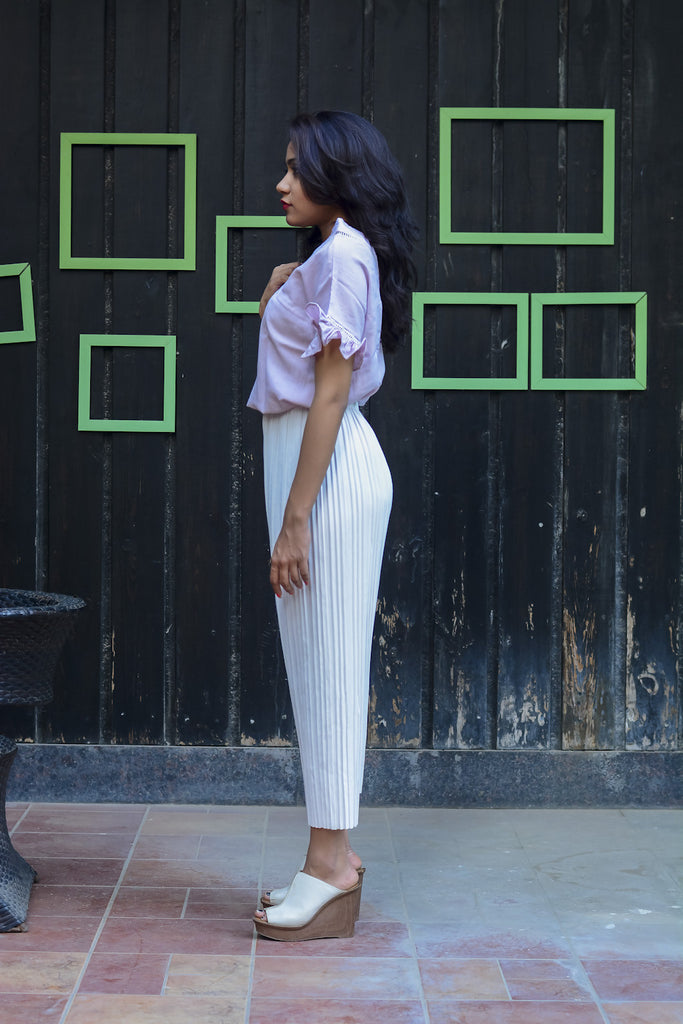 White Solid Pleated Culottes #IBL1190 - Brinda's Store