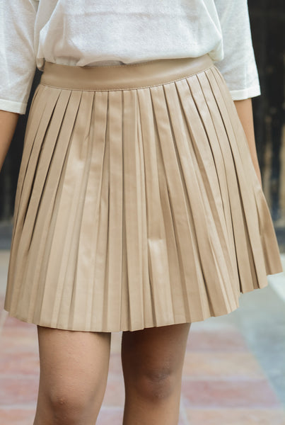 Tan Brown Faux Leather Pleated Mini Skirt