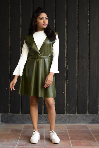 Olive Green Faux Leather Shift Dress #IBL1300 - Brinda's Store