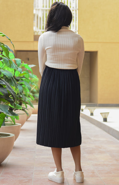 Black Pleated Flared Midi Skirt - Brinda's Store