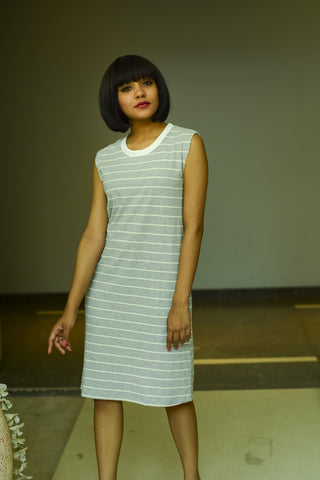 Grey & White Striped A-line Dress - Brinda's Store