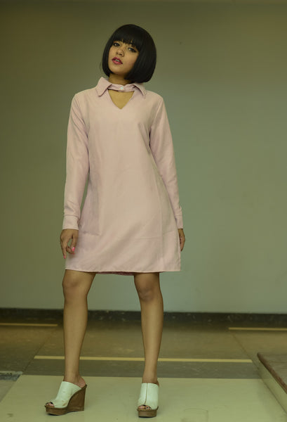 Pink Self Striped Tailored Dress