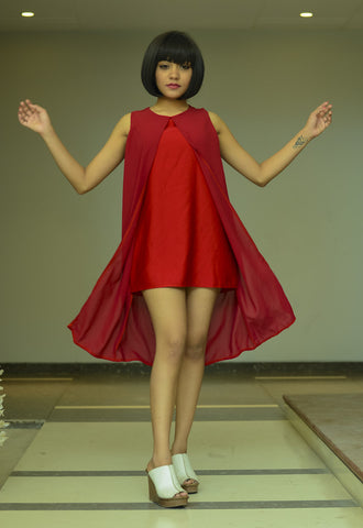 Red Chiffon A-line Dress - Brinda's Store