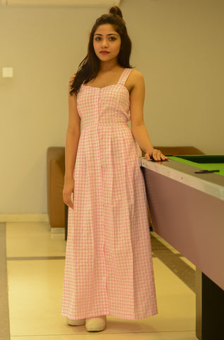Pink Checked Tailored Dress - Brinda's Store