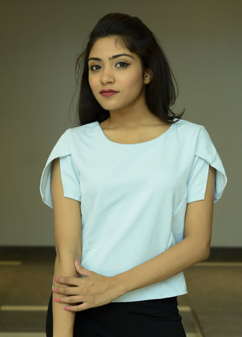 Light Blue Plain Cut Sleeve Top - Brinda's Store