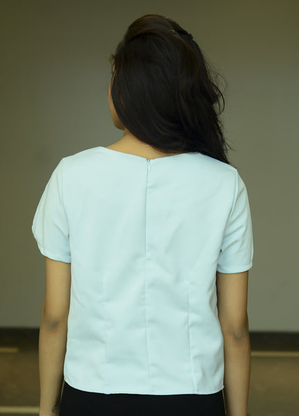 Light Blue Plain Cut Sleeve Top