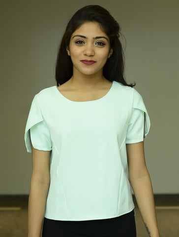Mint Green Plain Cut Sleeve Top - Brinda's Store