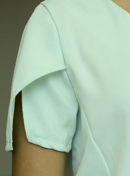Mint Green Plain Cut Sleeve Top